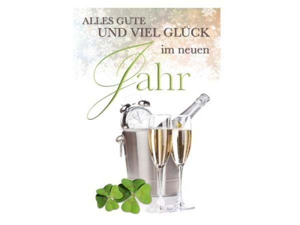 Neujahrskarte Borer Champagnergläser 11,5x17cm