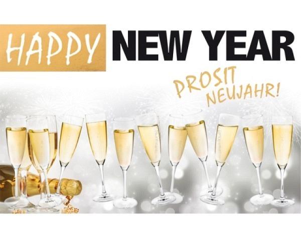 Neujahrskarte Borer Champagnergläser Prost 17x11,5cm