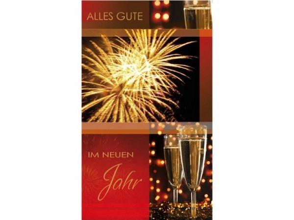 Neujahrskarte Borer 5er Set Feuerwerk und Champagnergläser, 9,5x16cm, rote Doppelkarten mit goldgepr