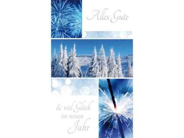 Neujahrskarte Borer Feuerwerk und Tannenbäume Beutel