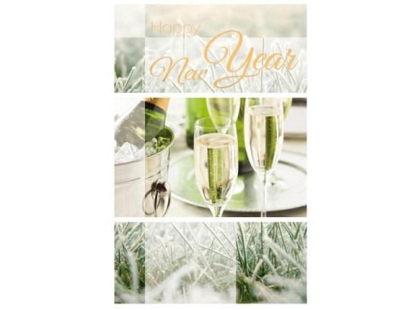 Neujahrskarte Borer Champagner Beutel à 5 Stk 9,5x16cm