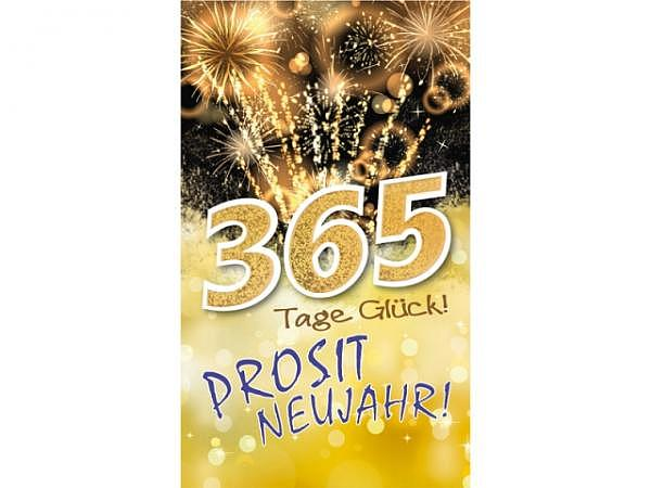 Neujahrskarte Borer Feuerwerk gold Beutel à 5 Stk 9,5x16cm