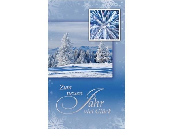 Neujahrskarte Borer 5er Set Winterlandschaft, 9,5x16cm, hellblaue Doppelkarte mit verschneiten Tanne