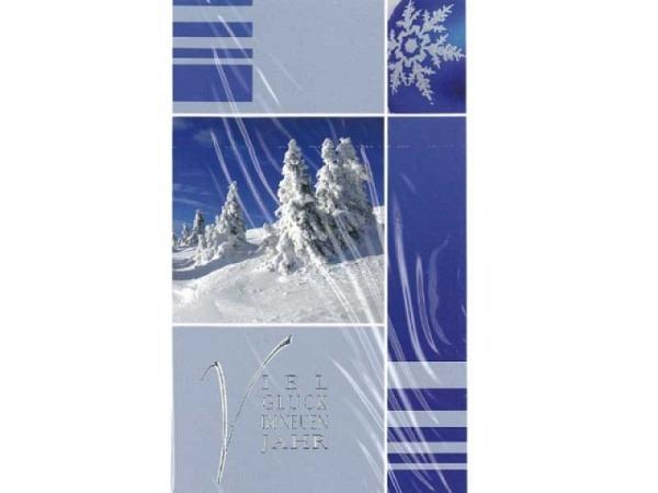 Neujahrskarte Borer 5er Set Schneetannen, 9,5x16cm, blaue Doppelkarte mit verschneiten Tannen und einem Schneestern, ohne Einlageblätter, inkl. weissen Couverts
