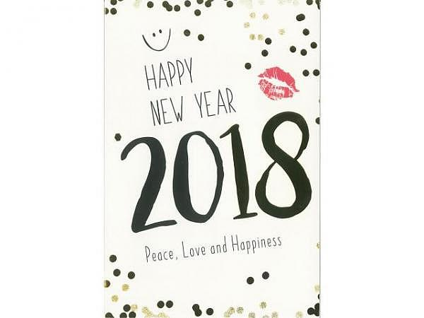Neujahrskarte ABC Happy New Year 2018 12x17,5cm
