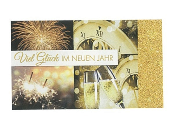 Neujahrskarte Borer 5er Set Golden New Year 16x9,5cm
