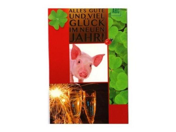 Neujahrskarte ABC Alles Gute und viel Glück 11,5x15cm 5er Set
