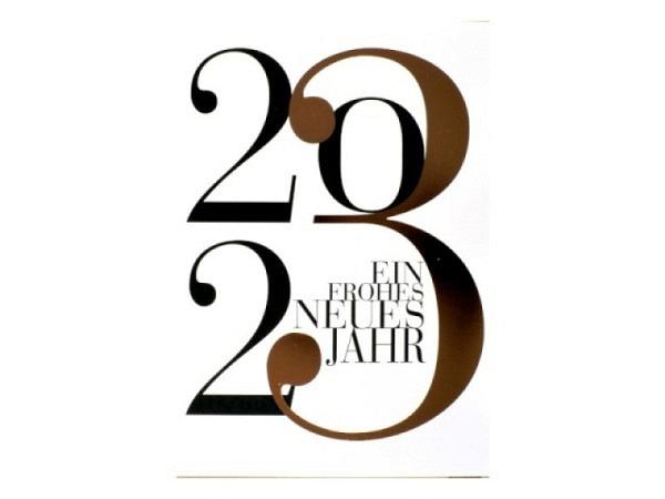Neujahrskarte ABC Schlitten und Schneeblume 8,5x13,5cm 5er Set