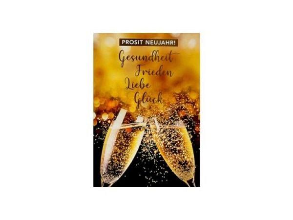 Neujahrskarte ABC Champagnergläser und Uhr 8,5x13,5cm 5er Set