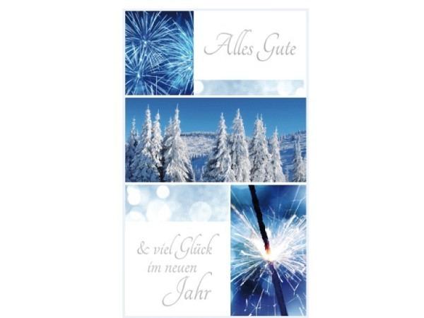 Neujahrskarte Borer Feuerwerk und Schneebäume