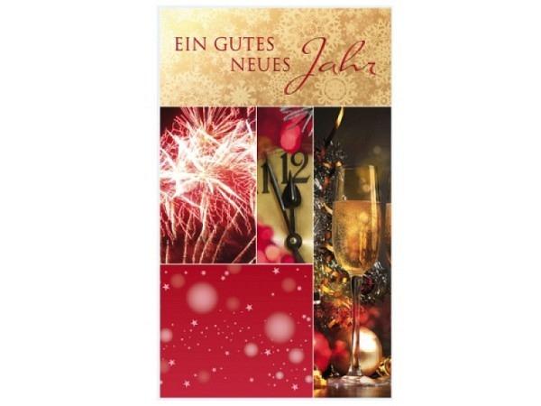 Neujahrskarte Borer Feuerwerk Uhr und Champagner