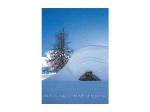Neujahrskarte Art Bula 12,2x17,5cm, stark verschneite Berghütte bei klarem Himmel, Doppelkarte mit bedrucktem Einlageblatt, inkl. weissem Couvert mit Spitzklappe