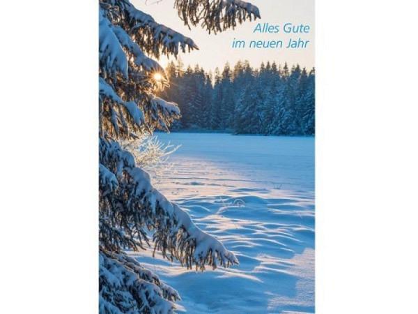 Neujahrskarte Art Bula 12,2x17,5cm, verschneite Eberesche mit roten Beeren bei klarem Himmel, Doppelkarte mit bedrucktem Einlageblatt, inkl. weissem Couvert mit Spitzklappe
