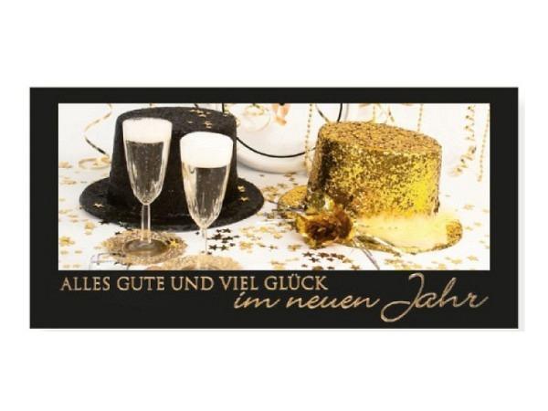 Neujahrskarte Borer Champagner & Hüte