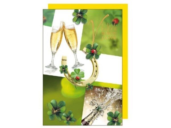 Neujahrskarte Borer Hufeisen & Kleeblätter 17x11,5cm