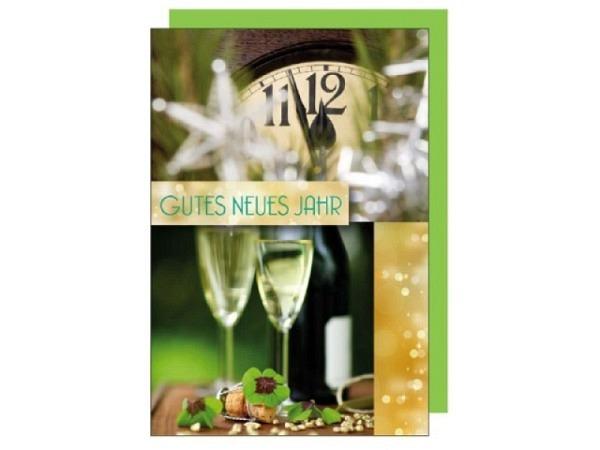 Neujahrskarte Borer Gutes Neues Jahr Champagner & Uhr