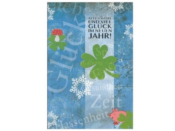 Neujahrskarte ABC Blau mit Kleeblatt, grüne Kleeblättern