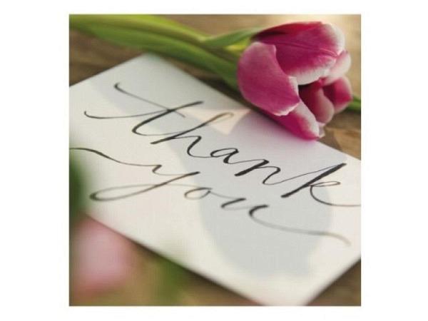Dankeskarte Cart Blume 12x17cm, weisse Doppelkarte