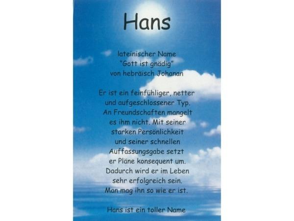 Karte Elite Namenskarte Hans 11,5x17cm<br>