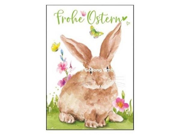 Osterkarte Gollong Frohe Ostern Hase und Schmetterling, Doppelkarte 125x185mm