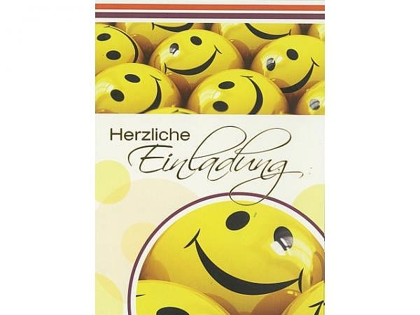 Einladungskarten Borer Smileys 5er Set