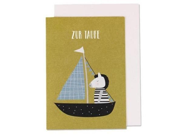 Taufkarte Ava&Yves Zebra im Boot A6 14,8x10,5cm