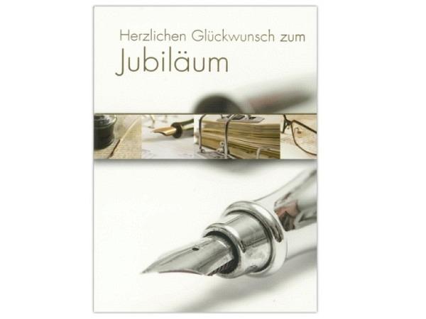 Jubiläumskarte ABC Füllfederhalter in gold Herzl. Glück
