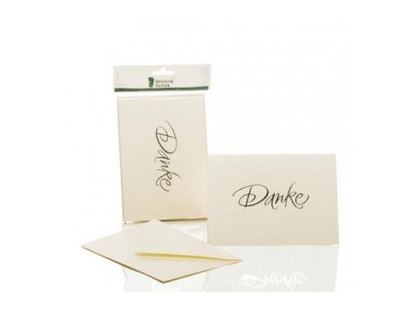 Dankeskarte Rössler 5 Doppelkarten B6 weissgold schimmernd