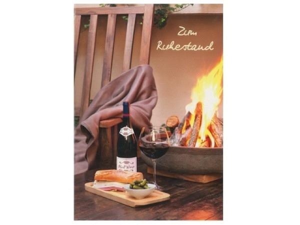 Ruhestandskarte Hartung Kaminfeuer mit Wein und Essen, mit Text Zum Ruhestand