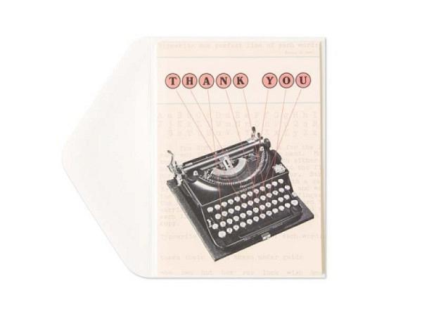 Dankeskarte Cavallini Thank you alter Schreibmaschine