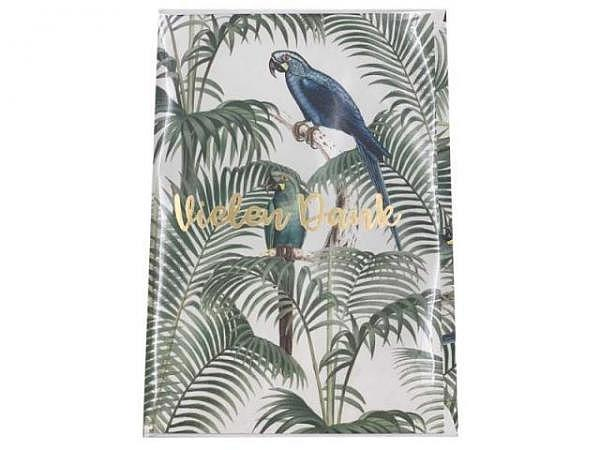 Dankeskarte Creative Lab Amsterdam Jungle 12x17,5cm, weisse Doppelkarte, bedruckt mit Papagei und Palmenblätter