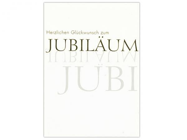 Jubiläumskarte ABC weiss Schriftzug 12,5x17,5cm