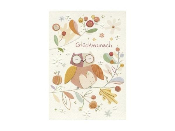 Glückwunschkarte Turnowsky Eulen, zwei bunte Eulen verliebt
