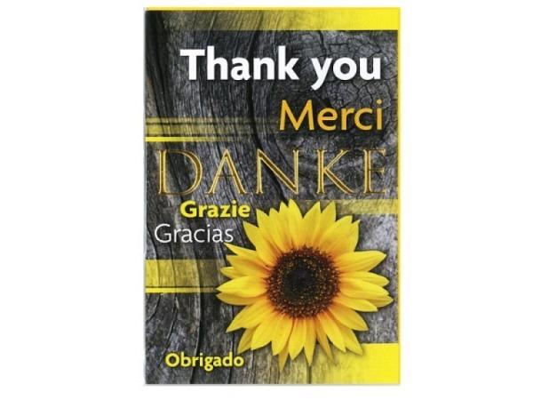 Dankeskarte Borer Sonneblume 11,5x17cm