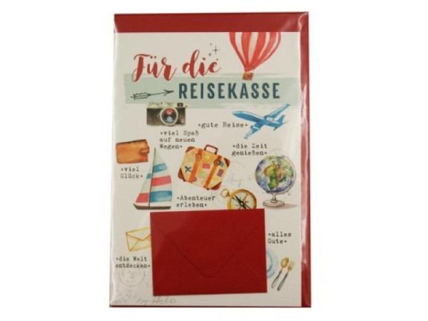 Karte Gollong für die Reisekasse 12,5x18,5cm weisse Doppelkarte mit Reise Motiven