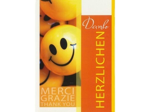 Dankeskarte Borer Smiley 11,5x17cm