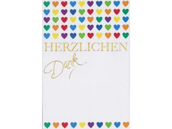 Dankeskarte Borer Bunte Herzen 11,5x17cm