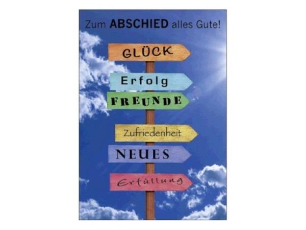 Abschiedskarte Art Bula 12,2x17,5cm, Text Viel Glück