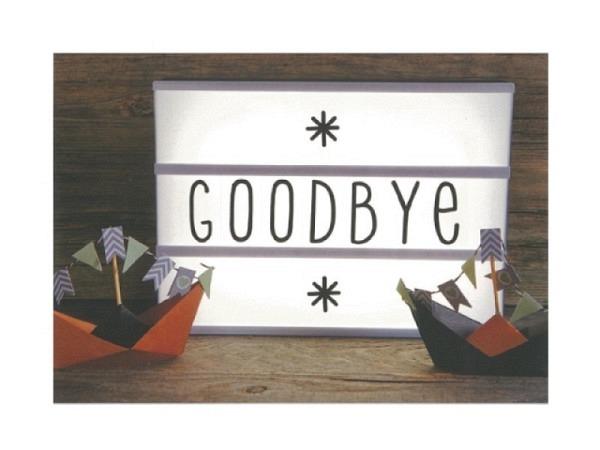 Postkarte Gollong A6 Abschied Goodbye 10,5x14,8cm