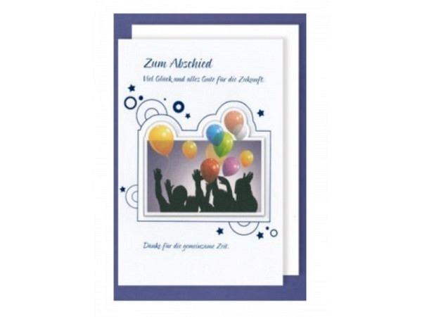 Abschiedskarte AvanCarte Feier mit Luftballonen