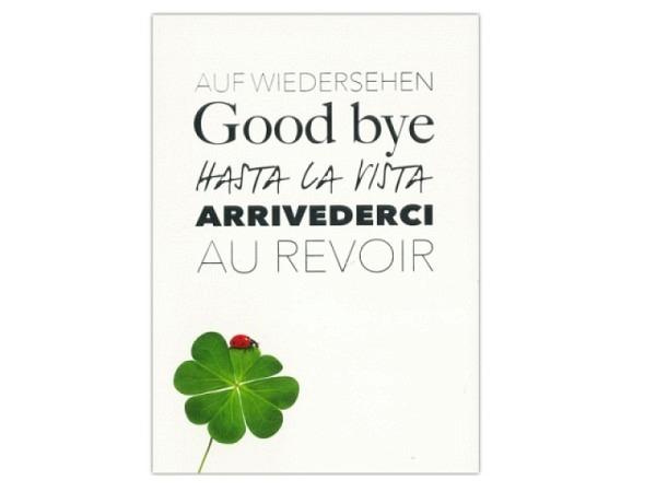 Abschiedskarte ABC Glücksklee, Doppelkarte 12,5x17,5cm