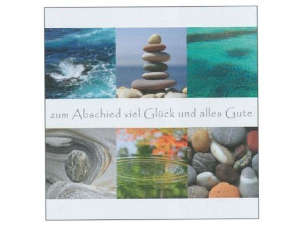 Abschiedskarte Art Bula 21,2x21,2cm Steine und Wasser
