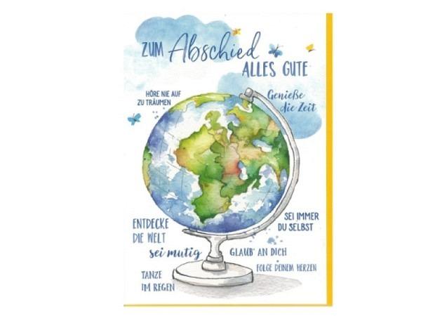Abschiedskarte Gollong Doppelkarte zum Abschied bedruckt mit Globus