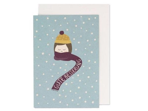 Genesungskarte Borer Bärchen 11,5x17cm, hellblaue Doppelkarte mit einem Teddybär und Text Baldige Be