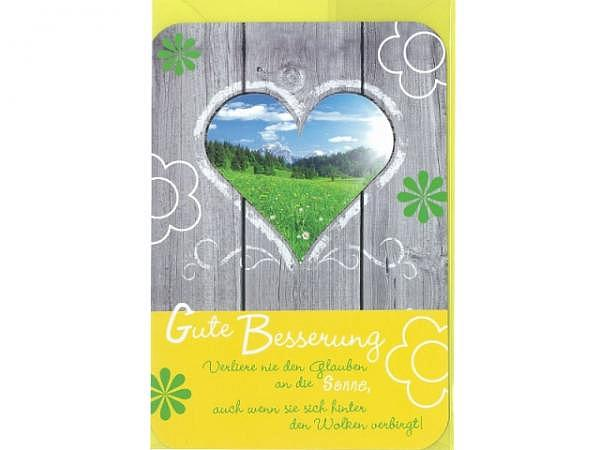 Genesungskarte Gollong Herz 12x17,1cm, Doppelkarte mit einer Tür mit einem Herzförmigen Fenster, innen gelb bedruckt mit weissen Blumen, abgerundete Ecken, ohne Einlageblatt, mit passendem gelbem Couvert
