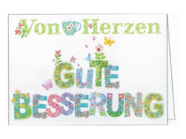 Genesungskarte Gollong von Herzen gute Besserung, 12x17,1cm, weisse Doppelkarte mit farbigen grossem Text von Herzen gute Besserung, ohne Einlageblatt, inkl. farblich passendem Couvert 12,5x18,5cm