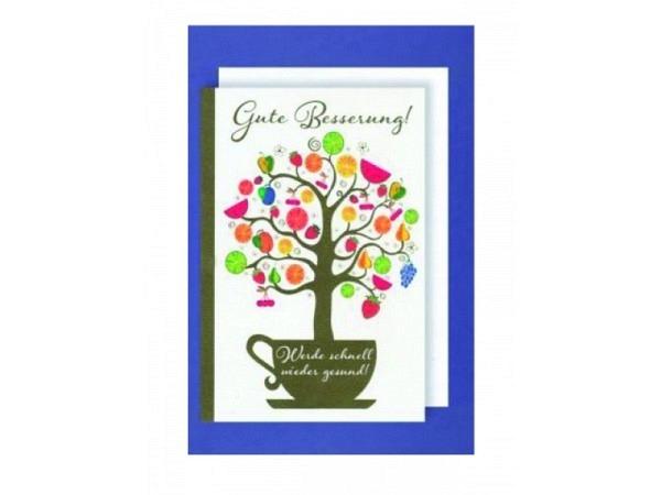 Genesungskarte AvanCarte Früchtebaum, weisse Doppelkarte mit einer Illustarion von einer Tasse aus dem ein Baumwächst, mit Text Gute Besserung - Werde schnell wieder Gesund, mit Couvert