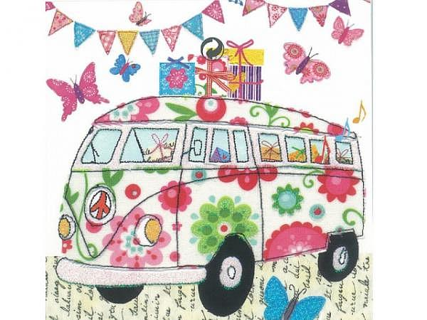 Postkarte Gollong VW Bus, quadratisch 14x14cm