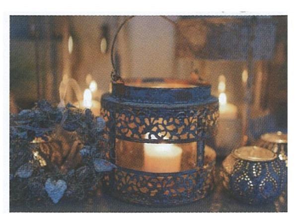 Postkarte Art Bula 10,5x14,8cm Metalllaterne mit Kerzen