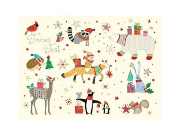Postkarte Turnowsky Weihnachten Weihnachtsmann auf Fahrrad